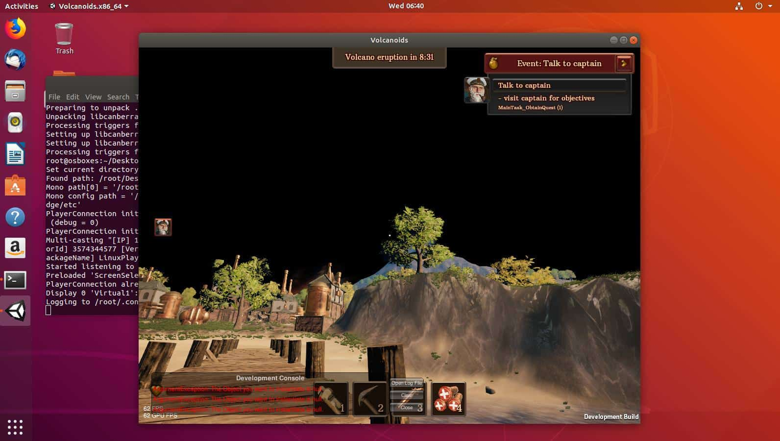 volcanoids first person base building ubuntu linux support
