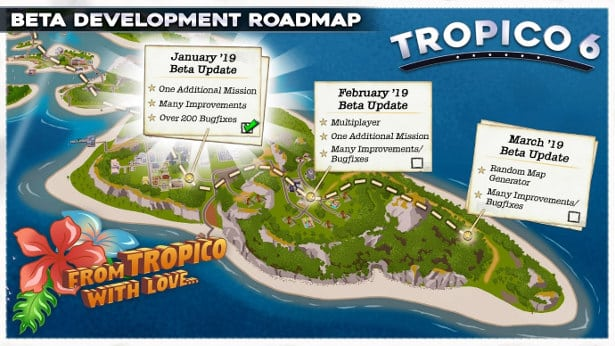 tropico 6 beta roadmap and upcoming features in linux mac windows games