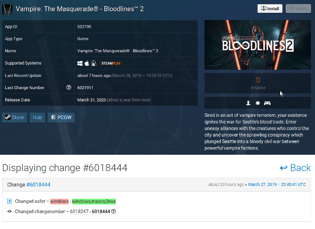 vampire the masquerade bloodlines 2 games support steamdb linux mac windows
