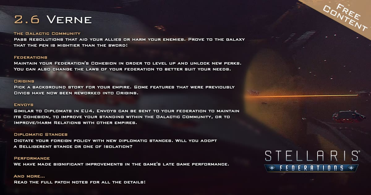 stellaris and the 2.6.0 verne update launches on linux mac windows pc