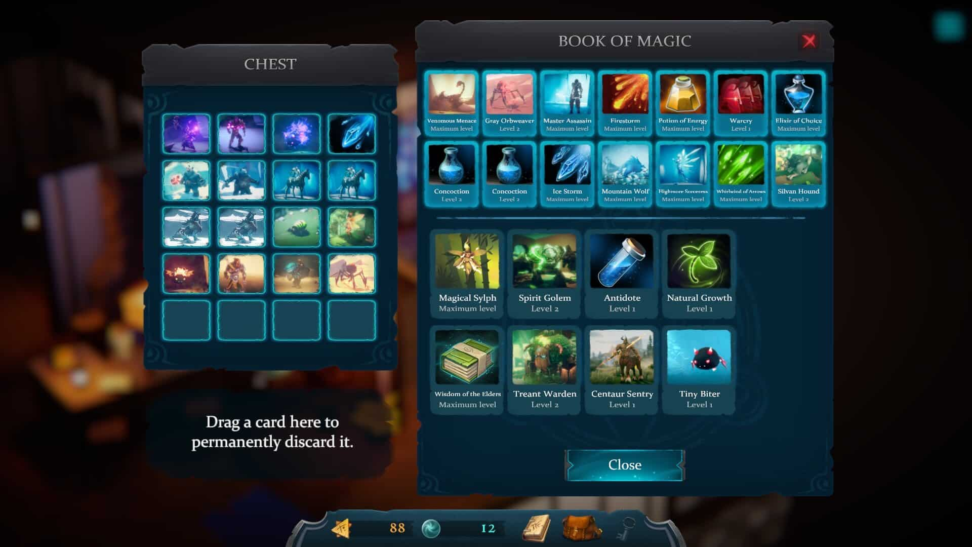 cardaclysm shards of the four screenshot of in game inventory